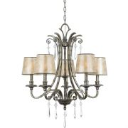 Kendra 5 Light Chandelier in a Mottled Silver Finish complete with Pearly Mica Shades - QUOIZEL QZ/KENDRA5